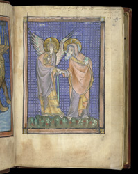 The Angel and St John, in 'The Royal Books of Virtues and Vices'